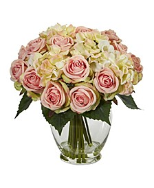 Rose and Hydrangea Bouquet Artificial Arrangement