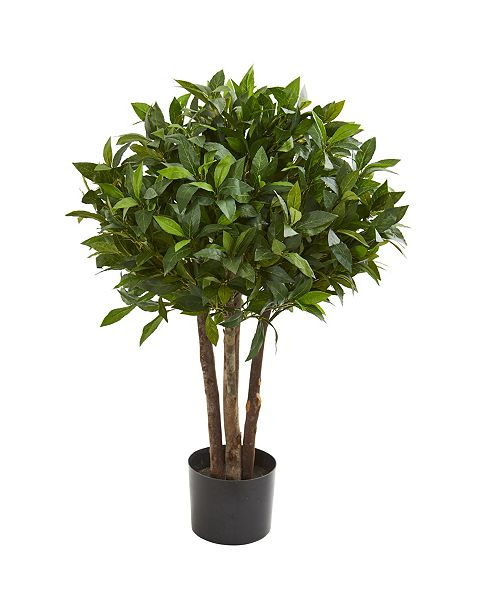 "Nearly Natural 37"" Bay Leaf Topiary Artificial Tree"