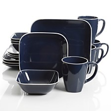 Laurie Gates Square Dance 16-piece Cobalt Dinnerware Set