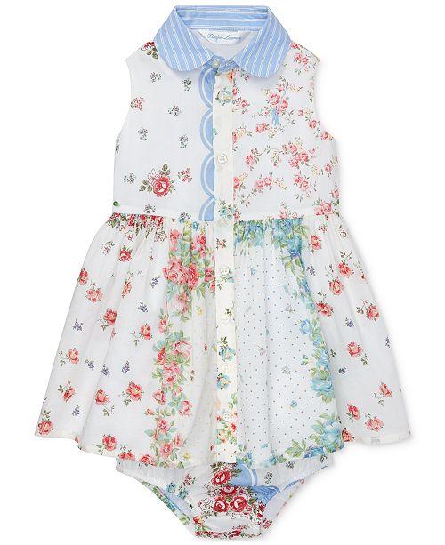 4416a5d81 ... Polo Ralph Lauren Baby Girls Floral Cotton Shirtdress & Bloomer ...