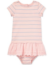 Polo Ralph Lauren Baby Girls Striped Eyelet Cotton Dress & Bloomer