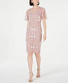 Embellished Flutter-Sleeve Sheath Dress