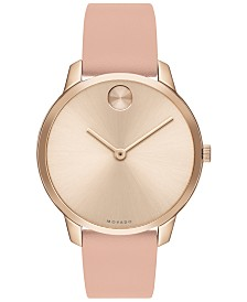 Movado Women's Swiss BOLD Pink Nappa Leather Strap Watch 35mm