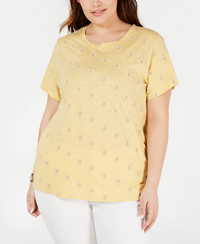 Lucky Brand Plus Size Daisy Allover Embroidered T-Shirt