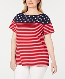 Karen Scott Plus Size Short-Sleeve Flag Shirt, Created for Macy's