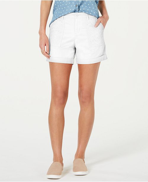 Style & Co Eyelet-Pocket Cuffed Shorts, Created for Macy's