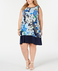 John Paul Richard Plus Size Sleeveless Printed Shift Dress