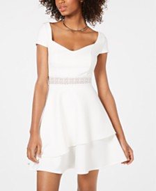 Crystal Doll Juniors' Lace-Trim Cap-Sleeve Fit & Flare Dress