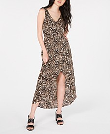 Juniors' Sleeveless Printed High-Low Maxi Dress