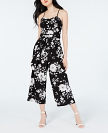 Emerald Sundae Juniors' Cropped Floral-Print Jumpsuit