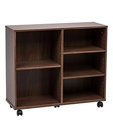 Wide Deep Wooden Rolling Shelf