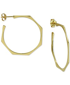 Geometric Hoop Earrings in Gold-Plated Sterling Silver