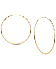 Argento Vivo Large Endless Large Hoop Earrings  in Gold-Plated Sterling Silver