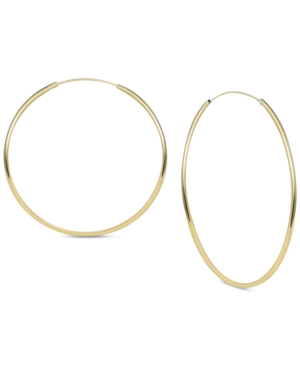 Argento Vivo Accessories LARGE ENDLESS HOOP EARRINGS IN GOLD-PLATED STERLING SILVER