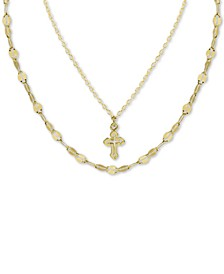 "Cross Double Layered Pendant Necklace in Gold-Plated Sterling Silver, 12"" + 3"" extender"