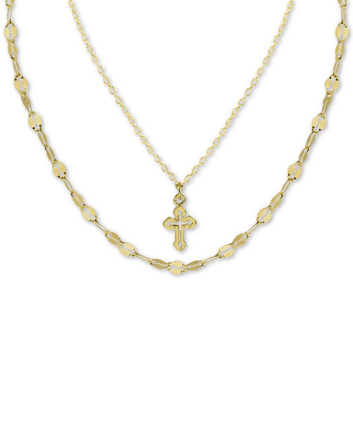"""Argento Vivo - Cross Double Layered Pendant Necklace in Gold-Plated Sterling Silver, 12"""" + 3"""" extender"""