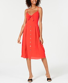 Teeze Me Juniors' Bow-Tie Button Midi Dress