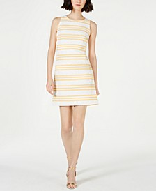 Petite Metallic Stripe Brocade Shift Dress
