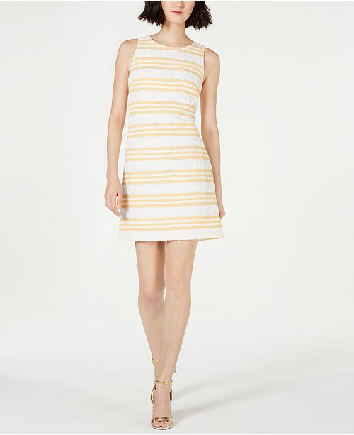 Vince Camuto Metallic Stripe Brocade Shift Dress