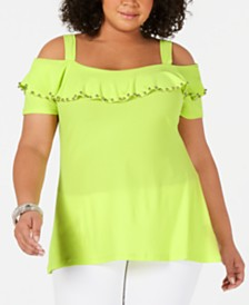 e6aef81da32c9 Belldini Plus Size Cold-Shoulder Grommet-Trim Top   Reviews - Tops ...