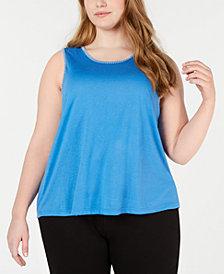 Jenni Plus Stitch-Trim Pajama Tank Top, Created for Macy's