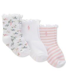 Polo Ralph Lauren Baby Girls 3-Pk. Floral Ruffles Flat-Knit Crew Socks
