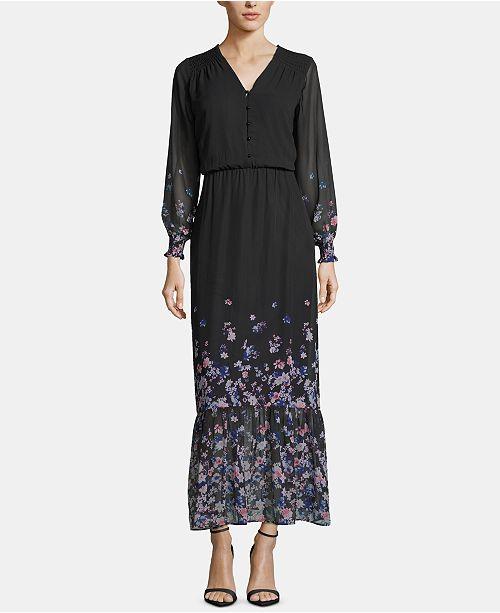 ECI Floral-Print-Border Maxi Dress