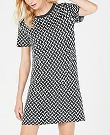 Renna Metallic Geo-Knit Dress
