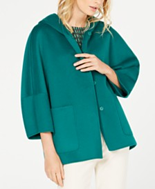 Weekend Max Mara Hooded 3/4-Sleeve Wool Coat