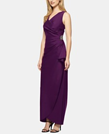 Alex Evenings Draped Embellished Compression Column Gown
