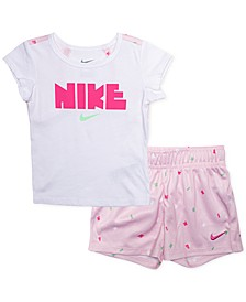 Baby Girls 2-Pc. Logo-Print Keyhole Top & Shorts Set