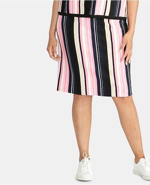 RACHEL Rachel Roy Plus Size Olivia Striped Sweater Skirt