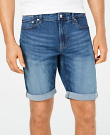 "Calvin Klein Jeans Men's Slim-Fit Vasa Blue Rolled Denim 9"" Shorts"