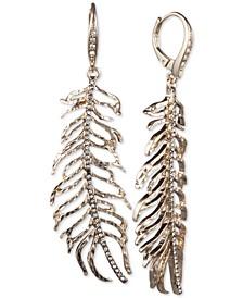 Gold-Tone Pavé Leaf Linear Drop Earrings