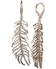 Jenny Packham Gold-Tone Pavé Leaf Linear Drop Earrings