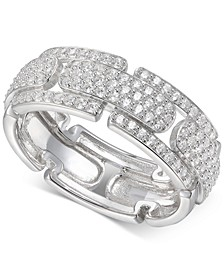 Cubic Zirconia Pavé Band in Sterling Silver