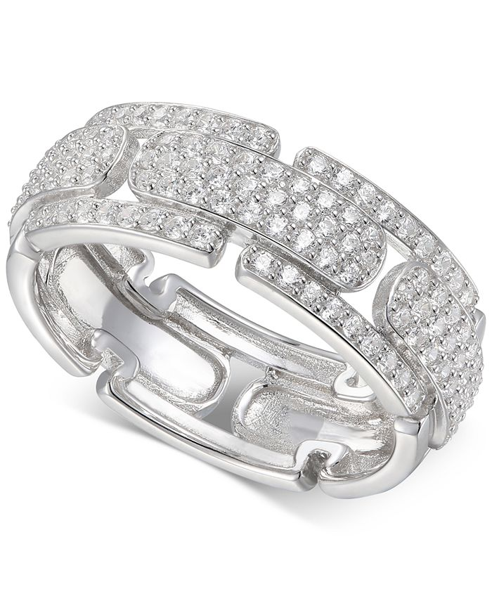 Macy's - Cubic Zirconia Pavé Band in Sterling Silver