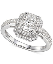 Cubic Zirconia Square Cluster Double Halo Ring Sterling Silver
