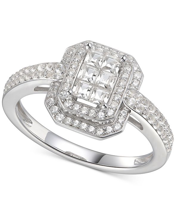 Macy's Cubic Zirconia Square Cluster Double Halo Ring Sterling Silver
