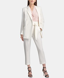DKNY Double-Breasted Blazer, Ruched Top & Tie-Front Pants