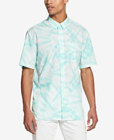 DKNY Men's Regular-Fit Stretch Leaf-Print Shirt