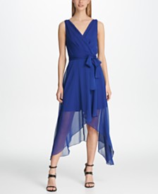 DKNY Pebble Chiffon High-Low Dress, Created for Macy's