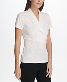 DKNY Printed Surplice-Neck Ruched Top