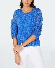 Alfani Petite Printed Ruched-Sleeve Mesh Bubble Top, Created for Macy's