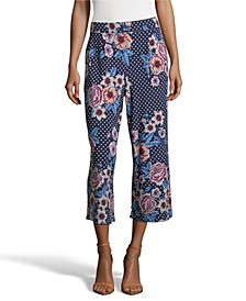 Polka Dot and Floral Puff Print Cropped Pants