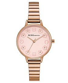 Ladies Rose Gold Bracelet Watch with Floral Dial Accents