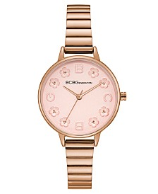 BCBGeneration Ladies Rose Gold Bracelet Watch with Floral Dial Accents
