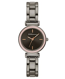 BCBGeneration Ladies Gun Metal Bracelet Watch with Pink Bezel