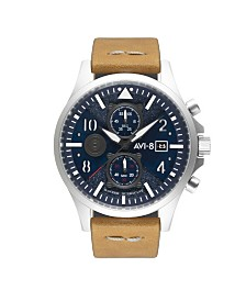 AVI-8 Men's Japanese Quartz Chronograph Hawker Hurricane, Blue Dial, Brown Leather Strap Watch 45mm