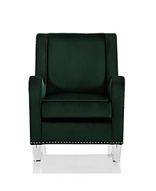 by Cosmopolitan Nixon Acrylic Leg Velvet Accent Chair with Nail Heads